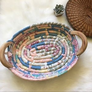 🌵Vintage Fabric Wrapped Woven Basket